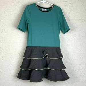 Hanna Andersson Dress Girls 120 6-7 Tiered Teal